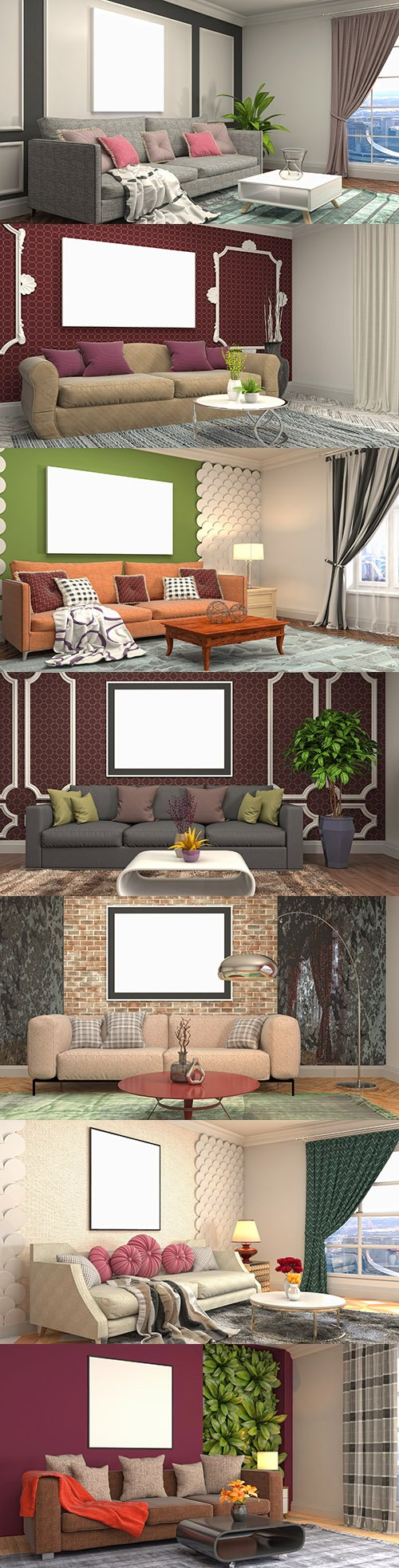 Interior design room with furniture and frame on wall