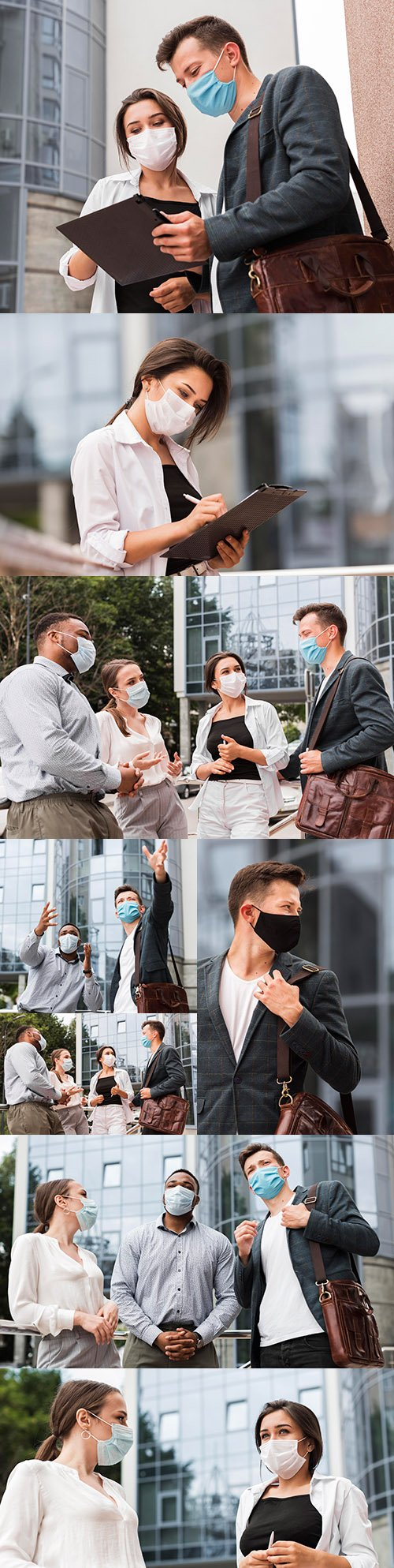 Colleagues chat outdoors during pandemic with face masks