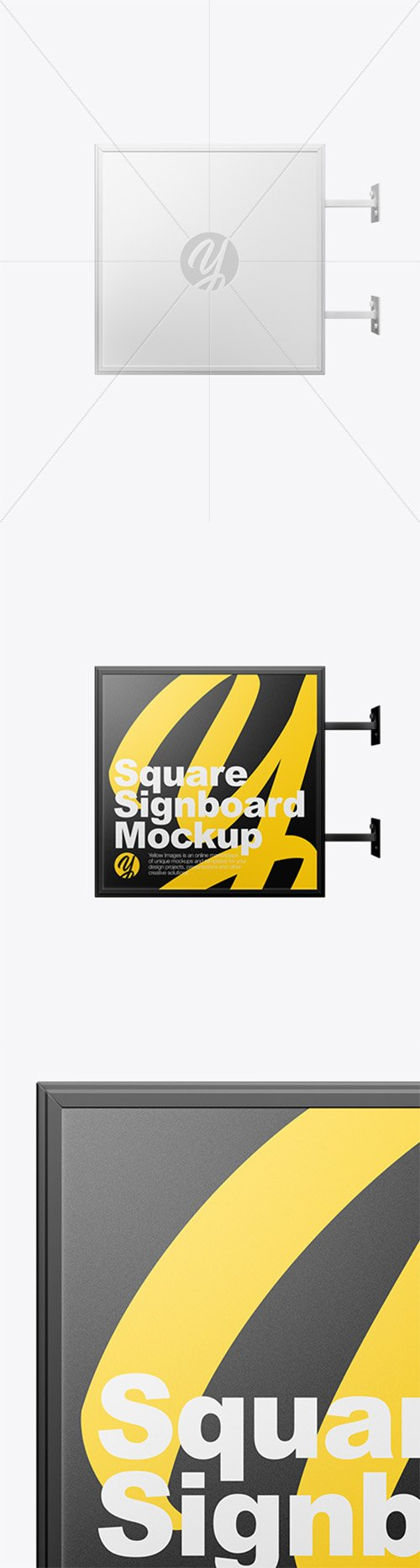Square Signboard Wall Mounted Mockup 43697 TIF