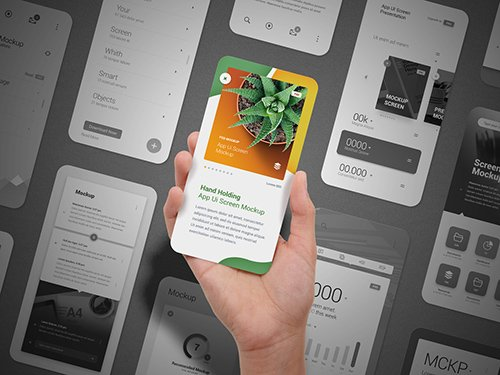 Hand Holding App Ui Screen with 11 Screens in the Background Mockup 329130255