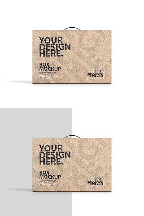 Brown Carton with Handle Mockup 329177735