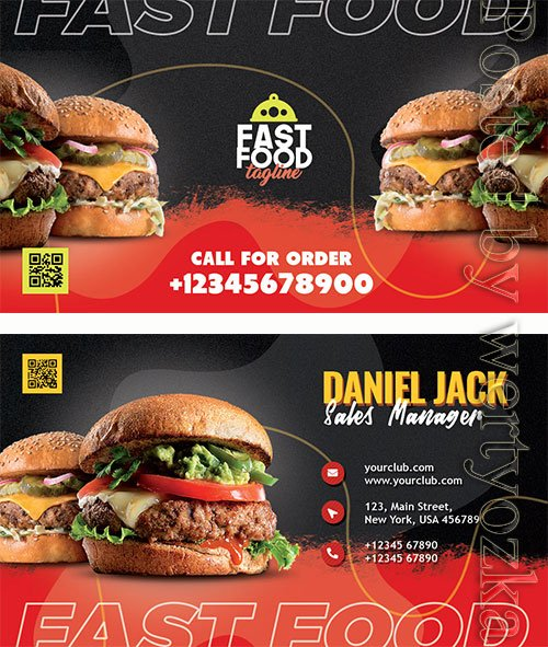 Restaurant Fast Food Business Card PSD