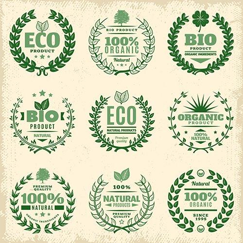 Vintage Green Eco Product Labels Set