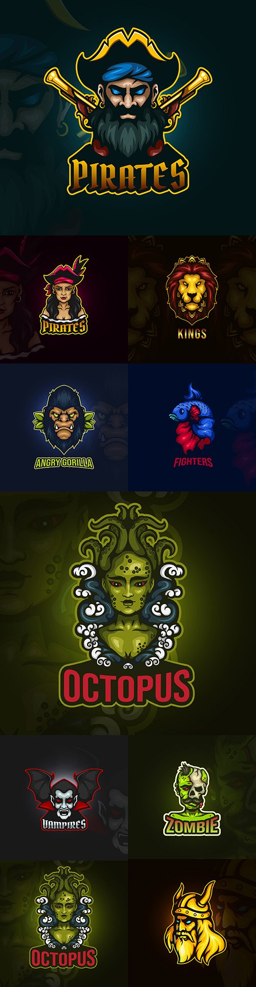 Emblem gaming mascot design cybersport illustration 27