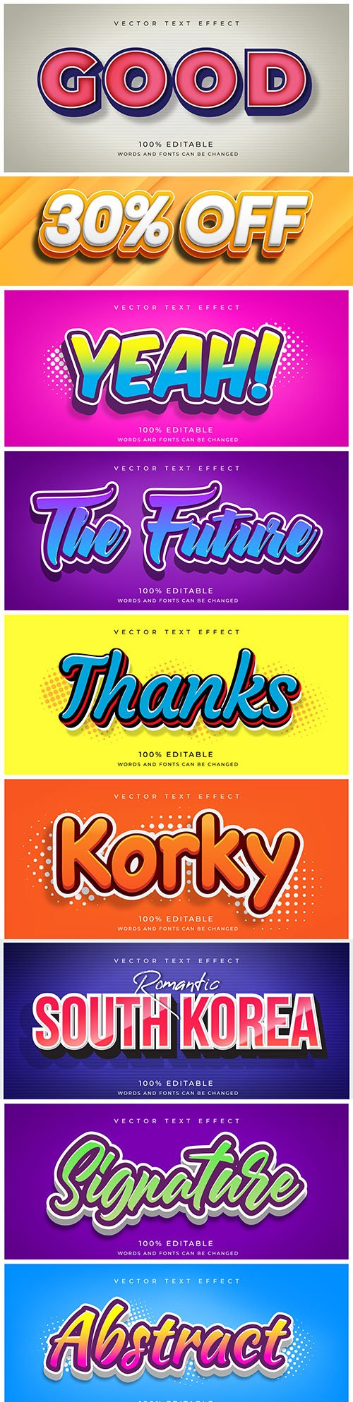 Editable font effect text collection illustration design 204