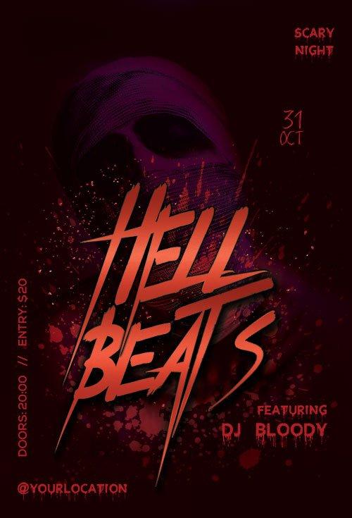 Hell Beats psd flyer template