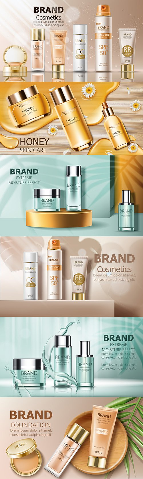 Body sunscreen and cosmetic containers on golden catwalk
