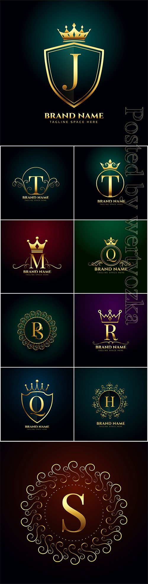 Luxury letter oranmental golden vector logo