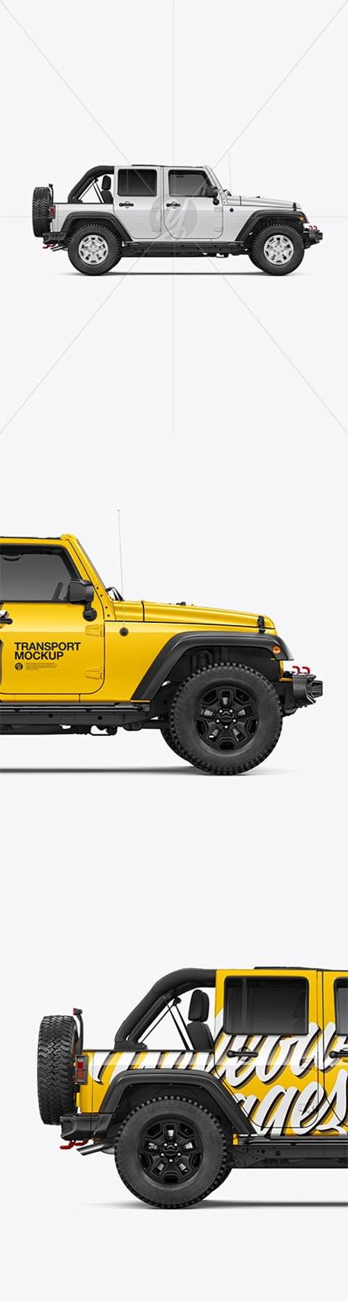 Off-Road SUV with Open Roof Mockup - Side View 39964 TIF