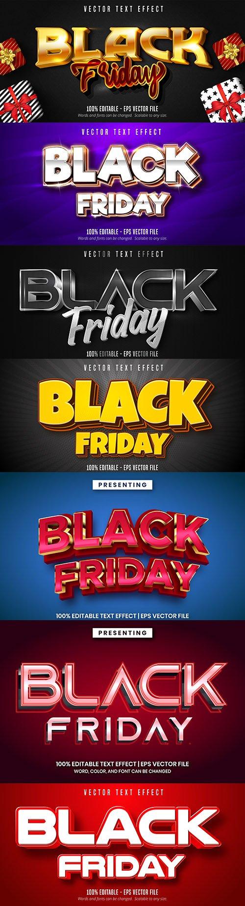 Black Friday Editable font effect text illustration design