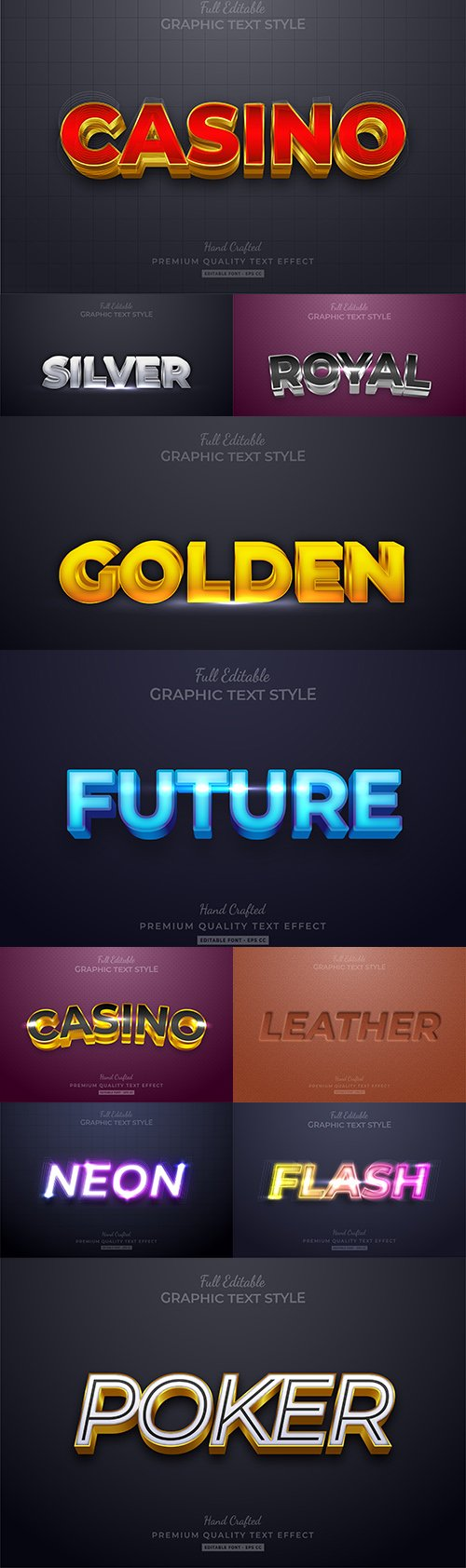 Editable font effect text collection illustration design 205