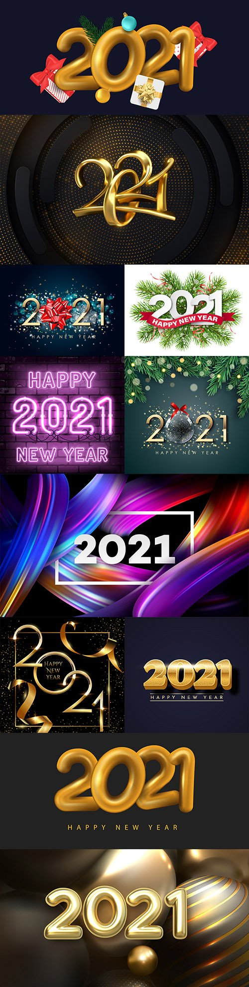 Happy New Year 2021 decorative design inscription