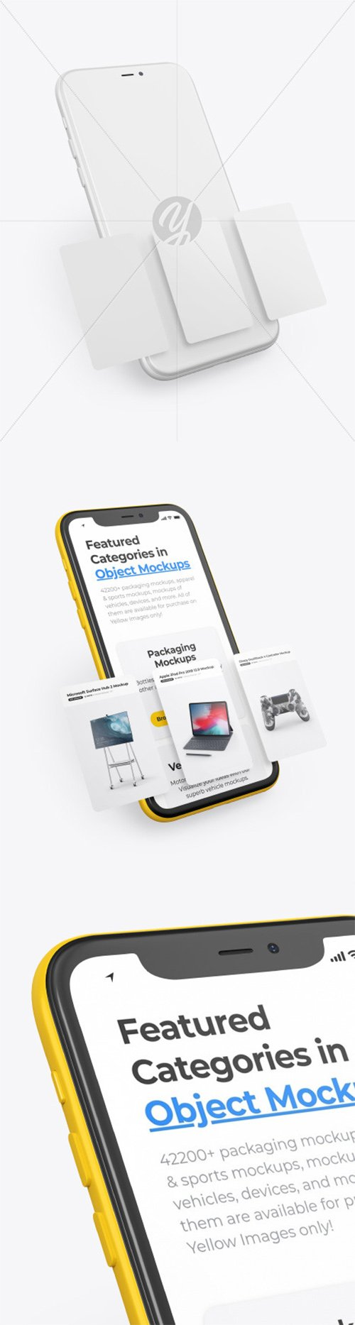 Clay Apple iPhone 11 Pro w/ Cards Mockup 62202