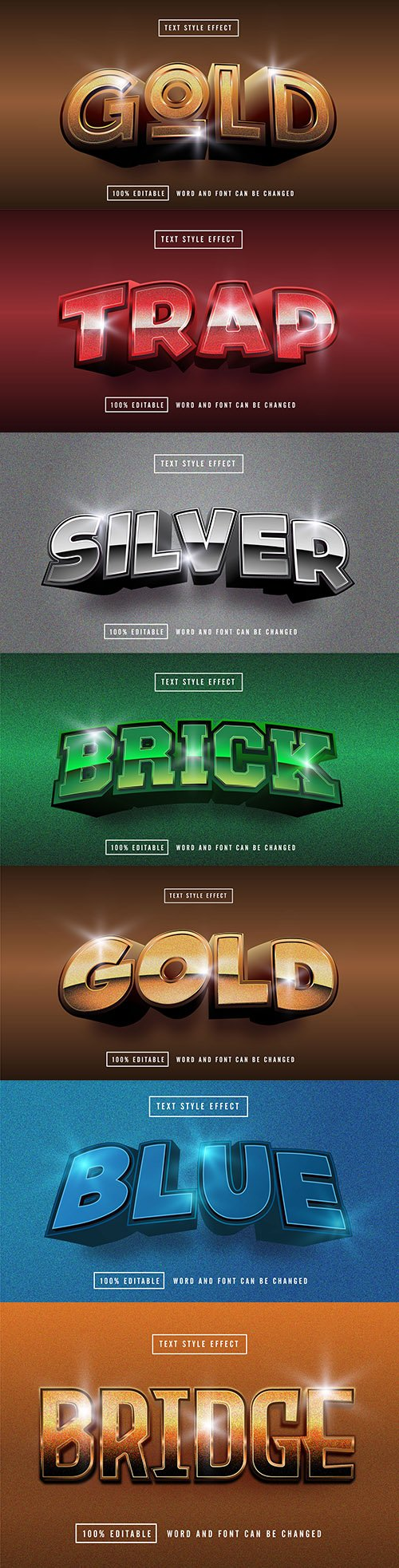 Editable font effect text collection illustration design 208