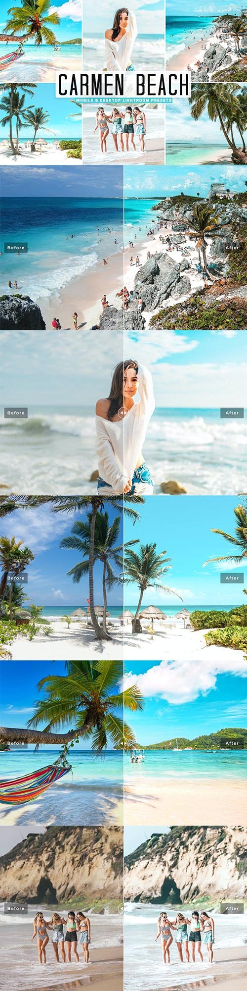 Carmen Beach Mobile & Desktop Lightroom Presets
