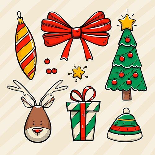 Hand-Drawn Christmas Element Set