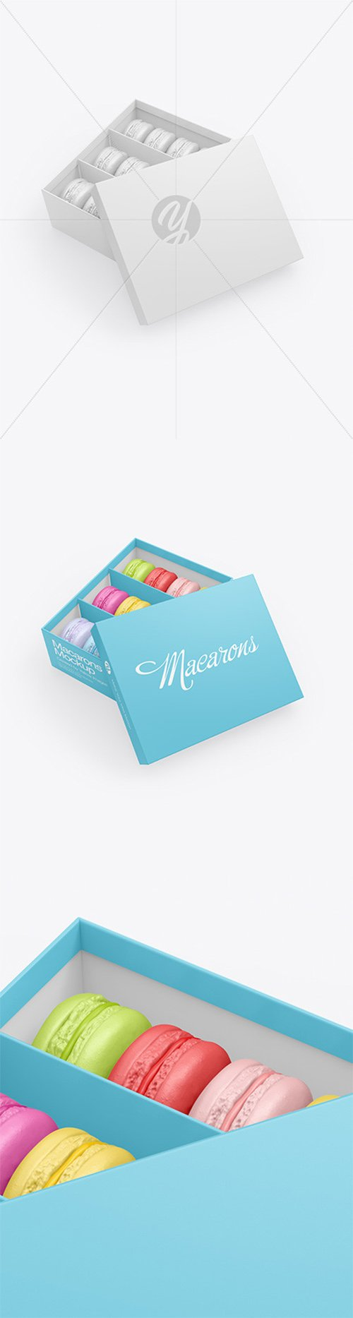 Opened Paper Box With Macarons Mockup 65626
