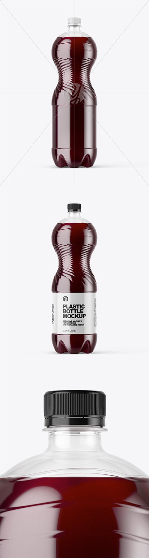 PET Bottle with Red Grape Drink Mockup 65497