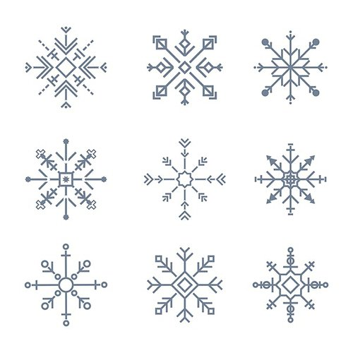 Illustration of cute snowflake icons 414933