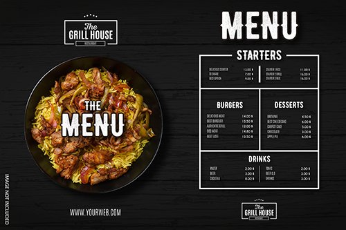 Modern restaurant menu with professional design template