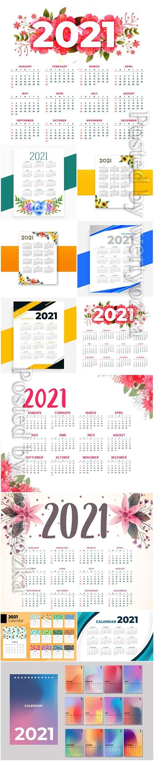 Flower style 2021 beautiful calendar template