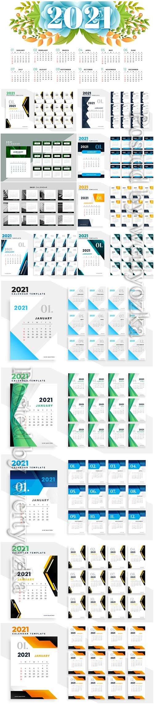 2021 calendar vector set templates