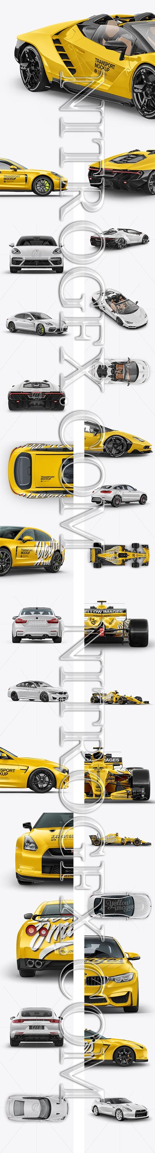 Big Pack with Cars Mockup Formula 1, BMW M4, Nissan GTR, Porsche Panamera 4 E-Hybrid, Coupe Crossover SUV Mockup