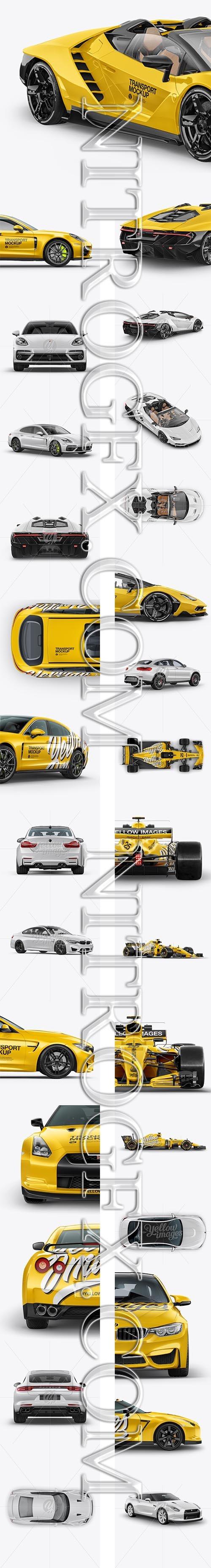 Big Pack with Cars Mockup Formula 1, BMW M4, Nissan GTR, Porsche Panamera 4 E-Hybrid, Coupe Crossover SUV Mockup