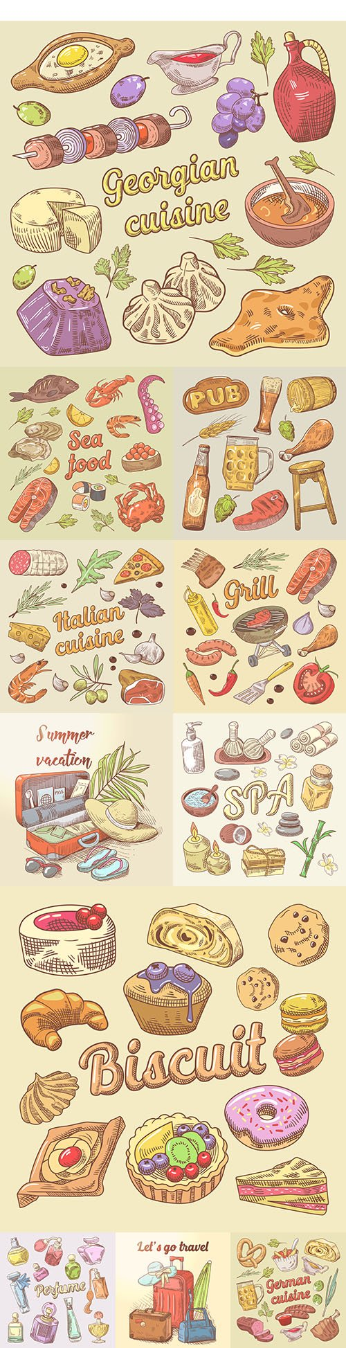 Doodle traditional dishes from different countries and cosmetics items