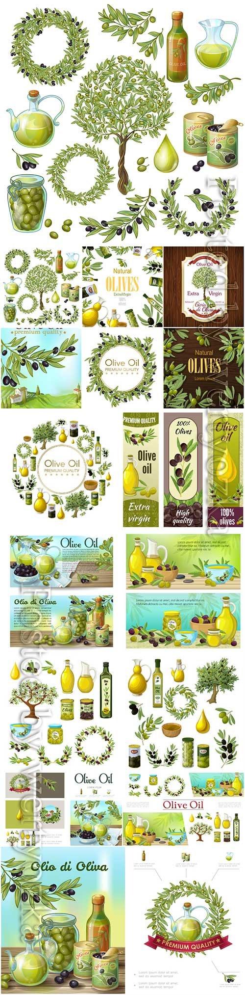 Olive organic elements vector set