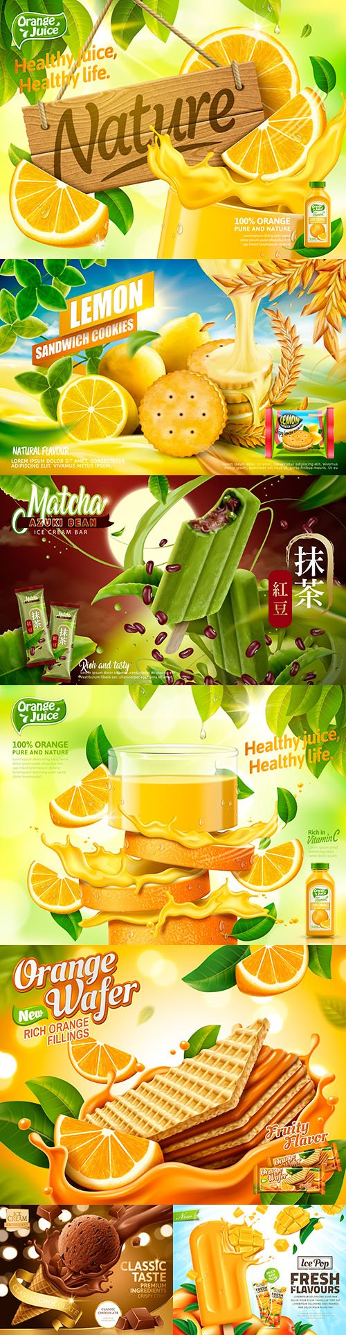Advertising orange juice and tasty ice cream realistic design