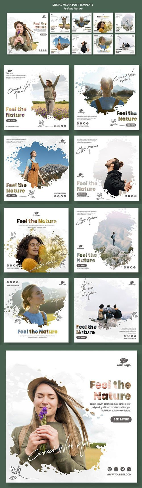 Feel The Nature - Social Media Post PSD Template