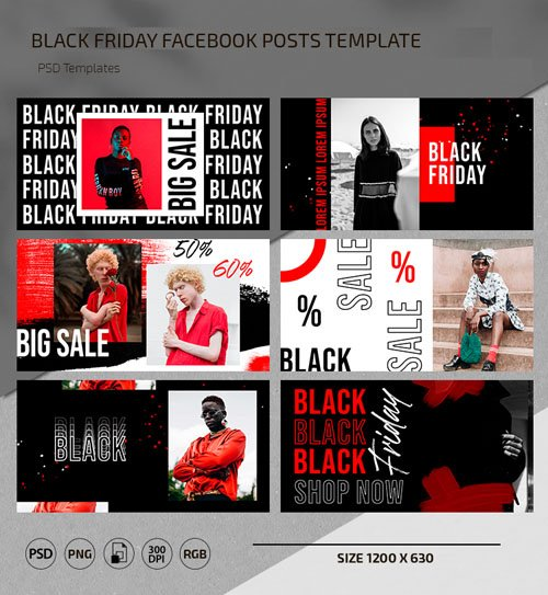Black Friday Facebook Posts Templates in [PSD/PNG]