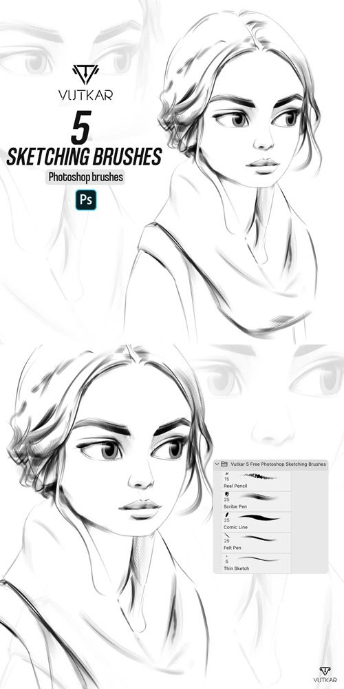 5 Sketching Brushes for Photoshop