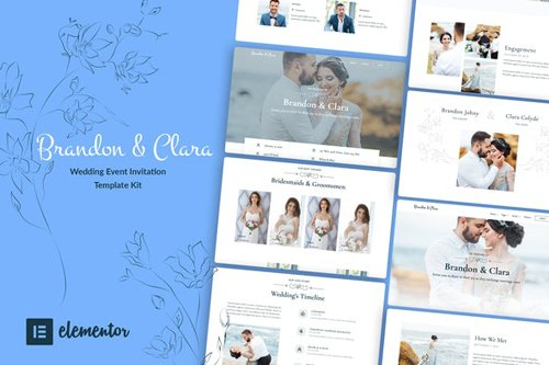 ThemeForest - Brandon & Clara v1.0 - Wedding Event Invitation Elementor Template Kit - 28382661