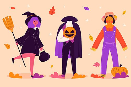 Hand-Drawn halloween character collection