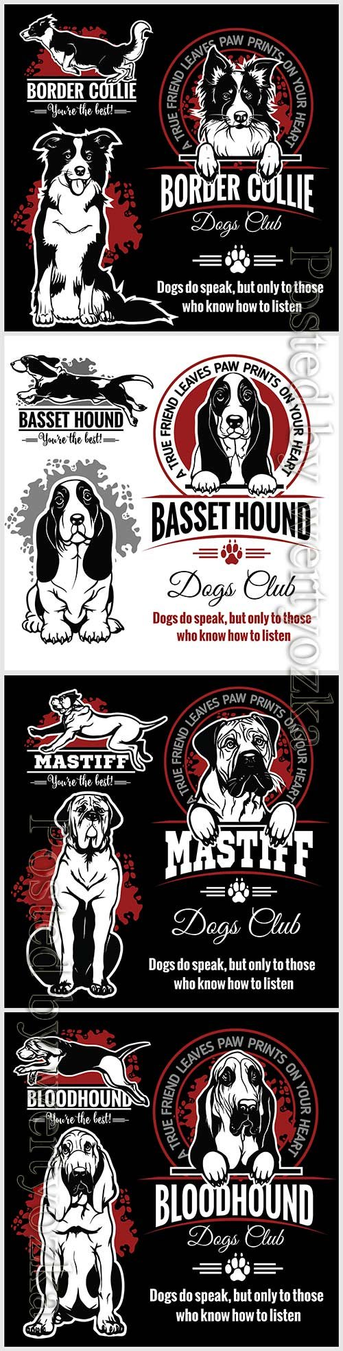 Dogs vector set for t-shirt, logo and template badges