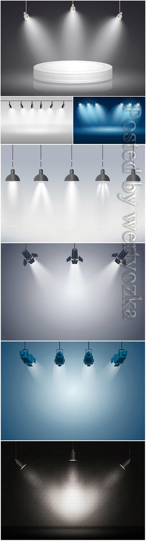 Spotlights vector background