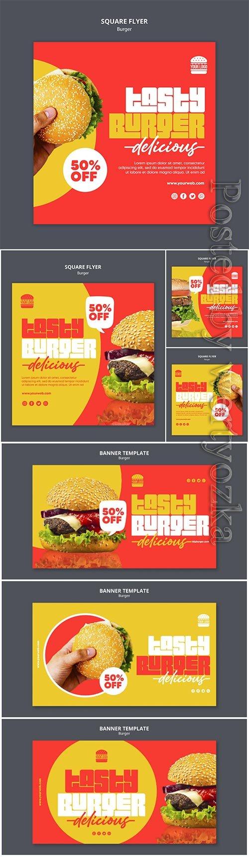 Burger concept banner template psd