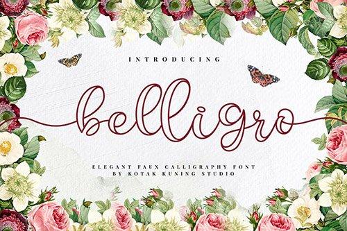 Belligro - Outline Script Font