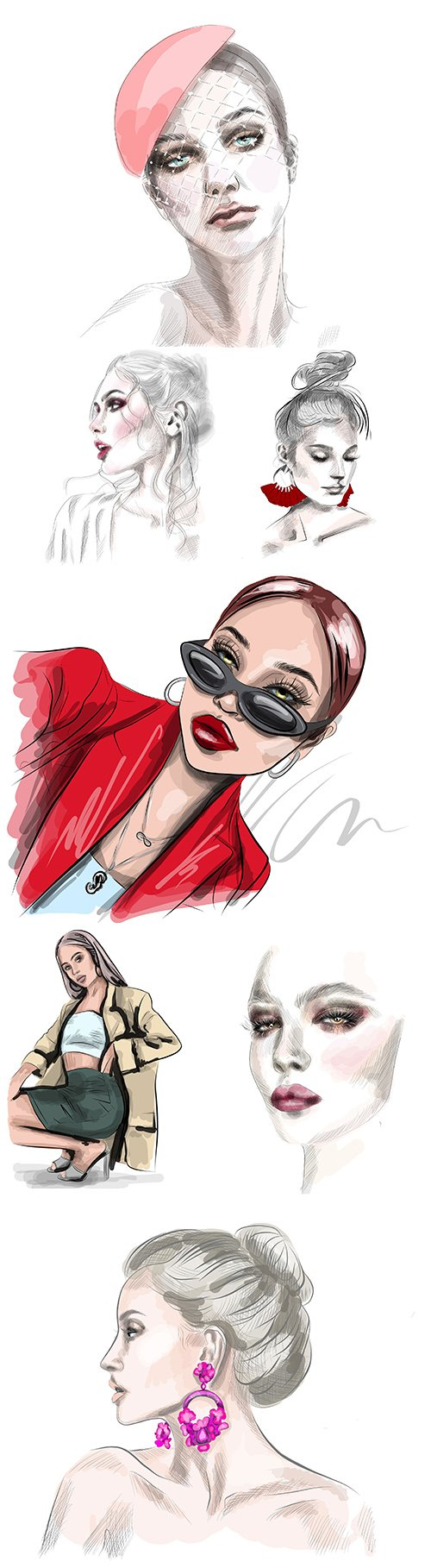 Sketch face of beautiful young woman painted illustration