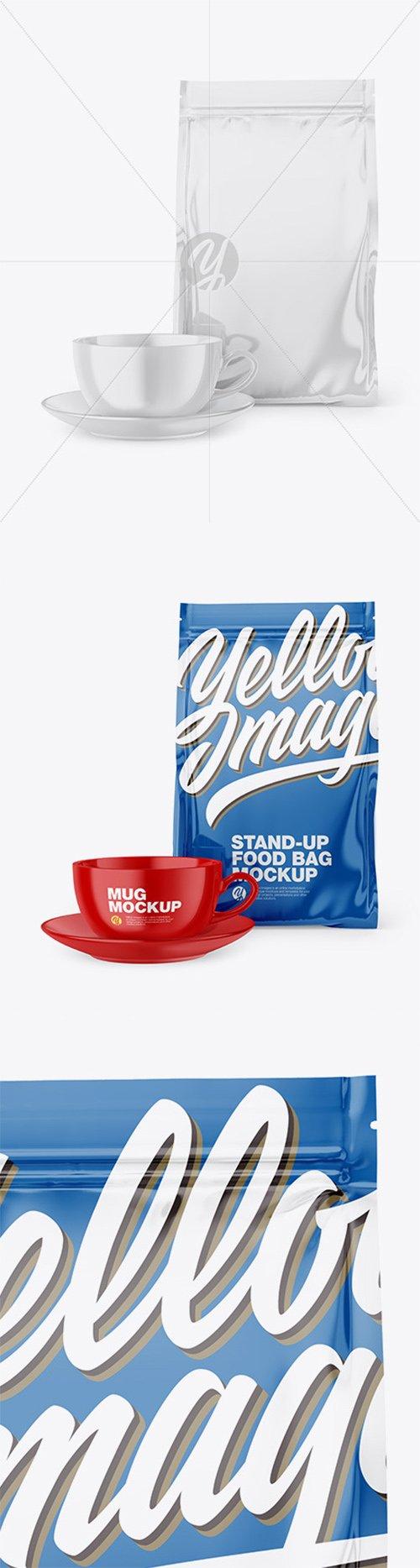 Glossy Stand-Up Bag with Coffee Mug Mockup 66632 TIF