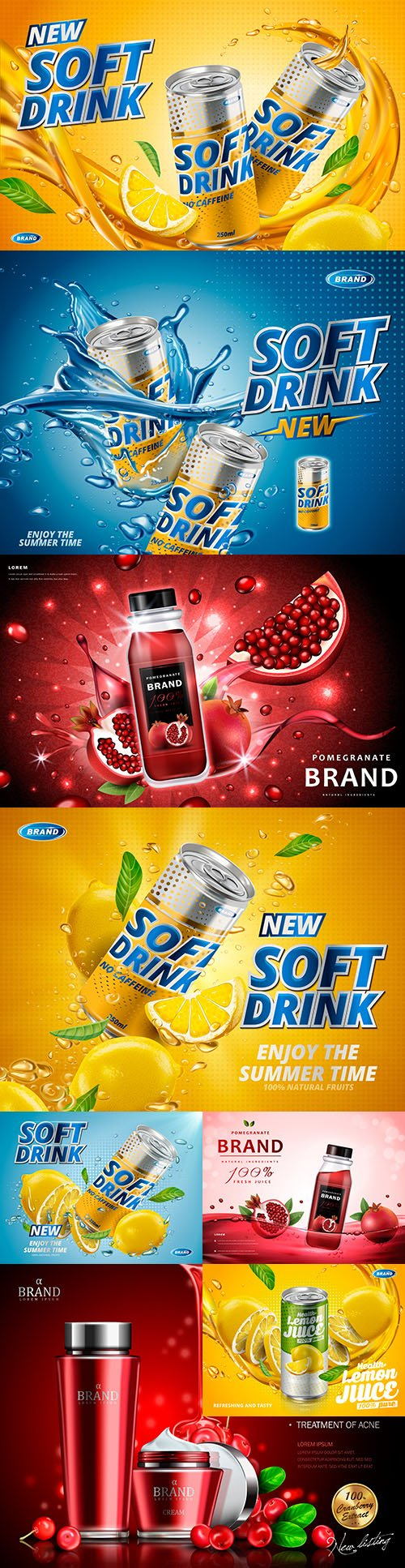 Lemon-flavored soft drink and pomegranate juice design advertising