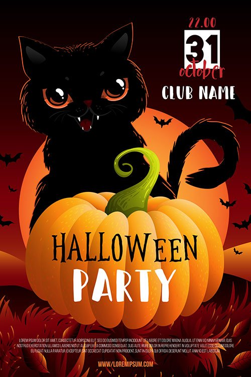 Halloween party poster or flyer with black cat