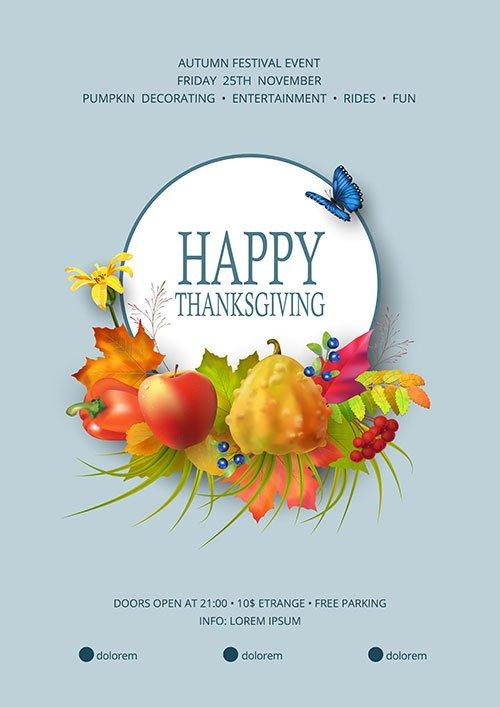 Thanksgiving festival flyer or poster template