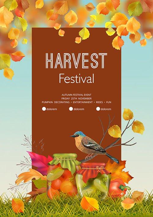 Autumn harvest festival flyer or poster vector template
