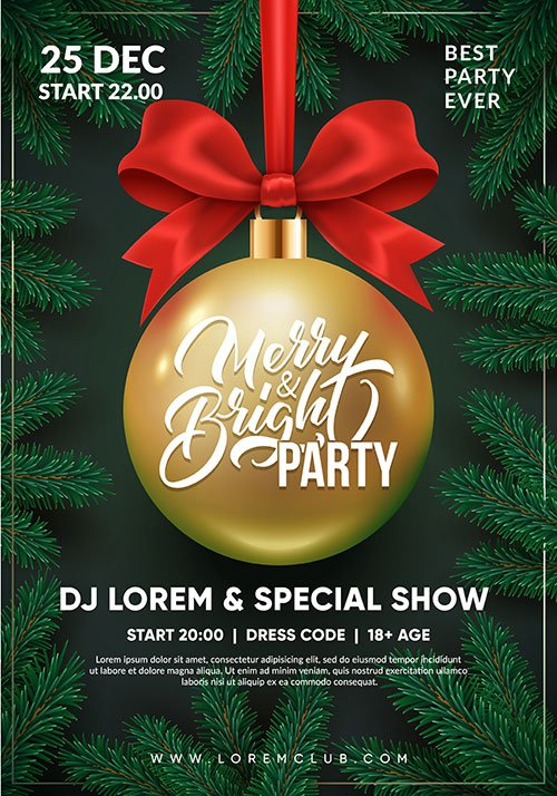 Christmas party flyer design, 3d christmas ball with red bow