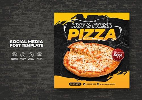 Food vector menu and delicious pizza