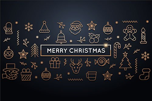 Christmas background outline style