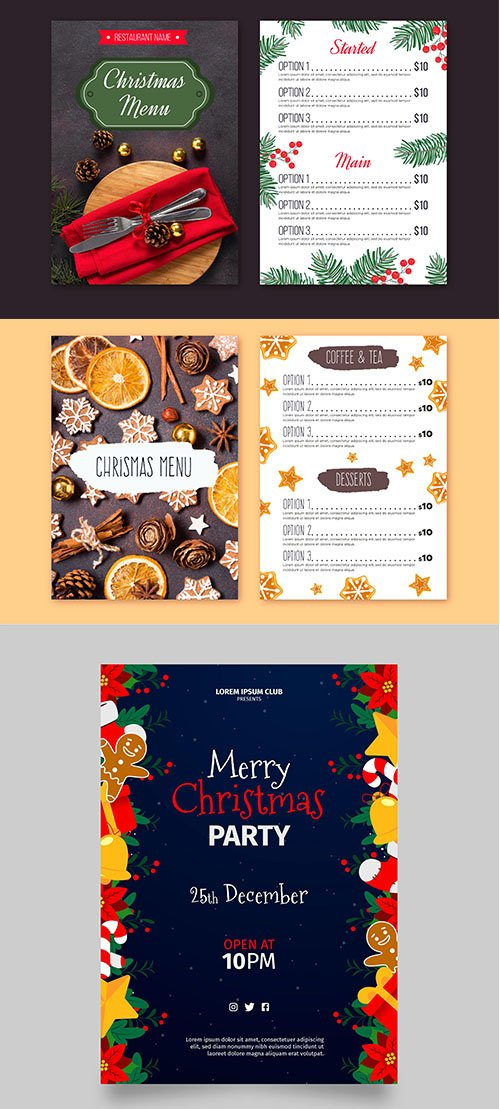 Christmas menu template and party poster
